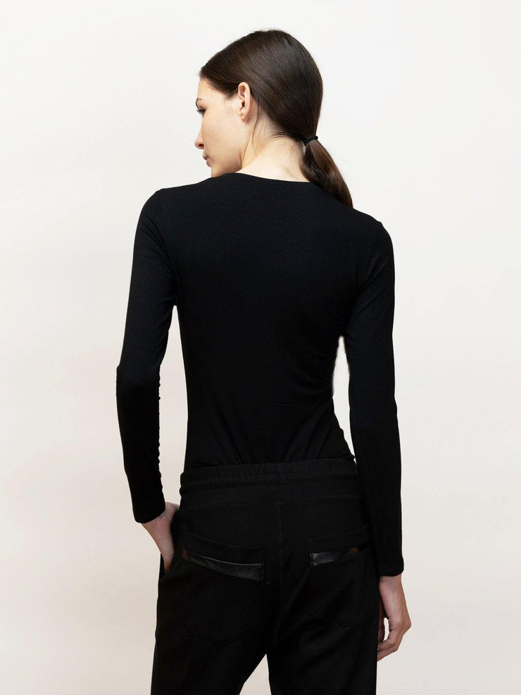 Eree - Long Sleeve Jersey Tee With Mesh Contrast - Back Detail in Black