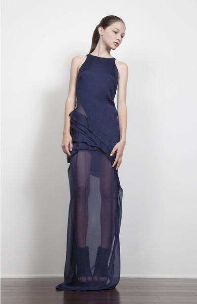 Filia long silk chiffon dress with sheer panels.