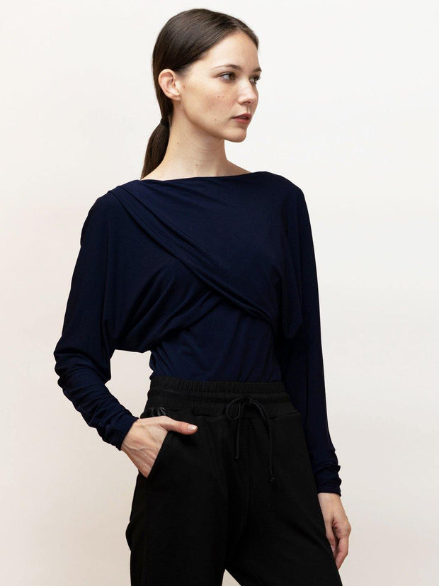Navy draped blouse