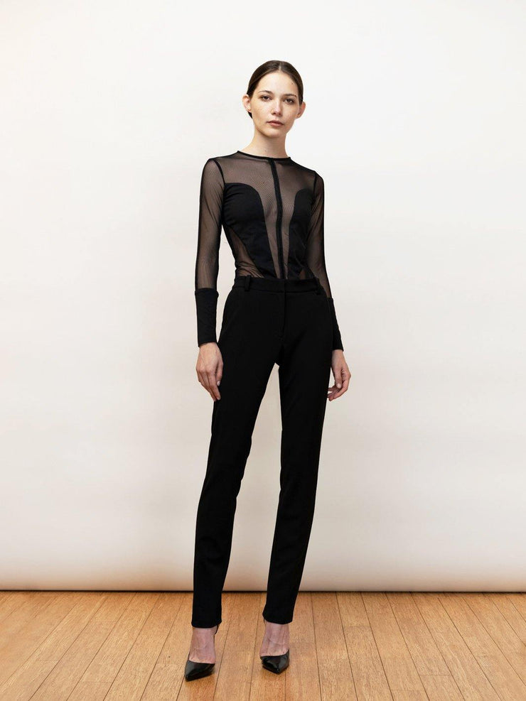iole - Black Jersey Bodysuit With Sheer Mesh Panels