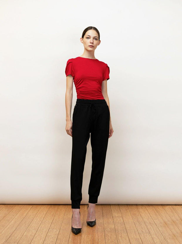 Iris - Versatile Stretch Draped Tee for Day and Night - RED - Front Full Body