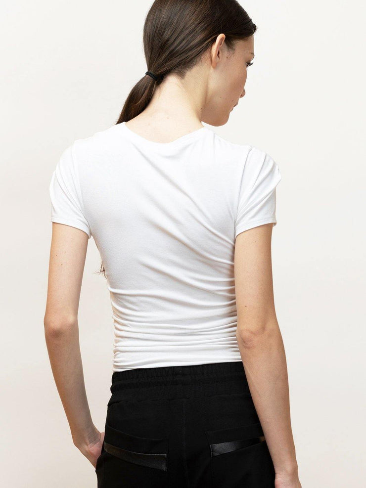 Iris - Versatile Stretch Draped Tee for Day and Night - WHITE - Back Detail