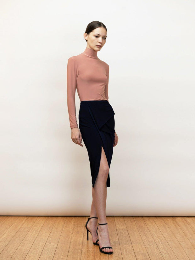 Kirke - Jersey Pencil Skirt With Draping - Front Crossing Legs