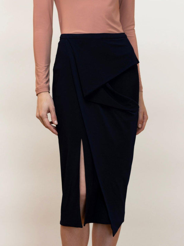 Kirke - Jersey Pencil Skirt With Draping - Front Detail