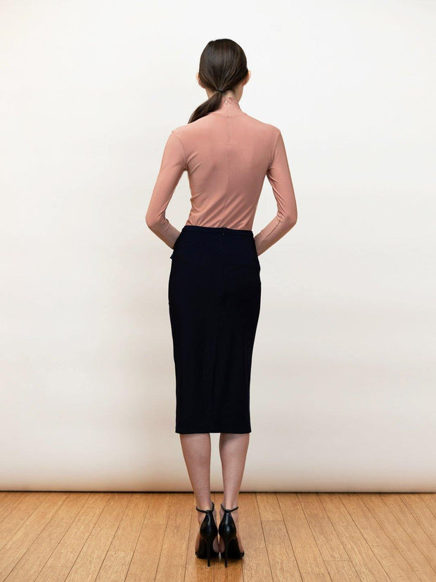 Kirke - Jersey Pencil Skirt With Draping - Back Detail