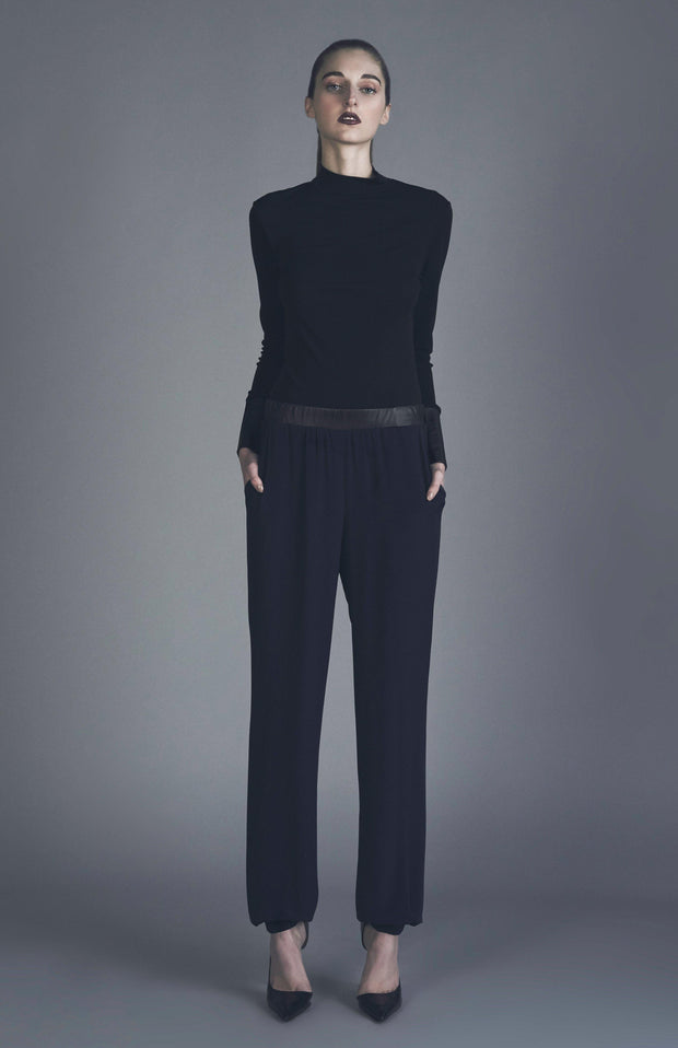 Imla Jersey Silk And Leather Slouchy Pants - Front Full Body
