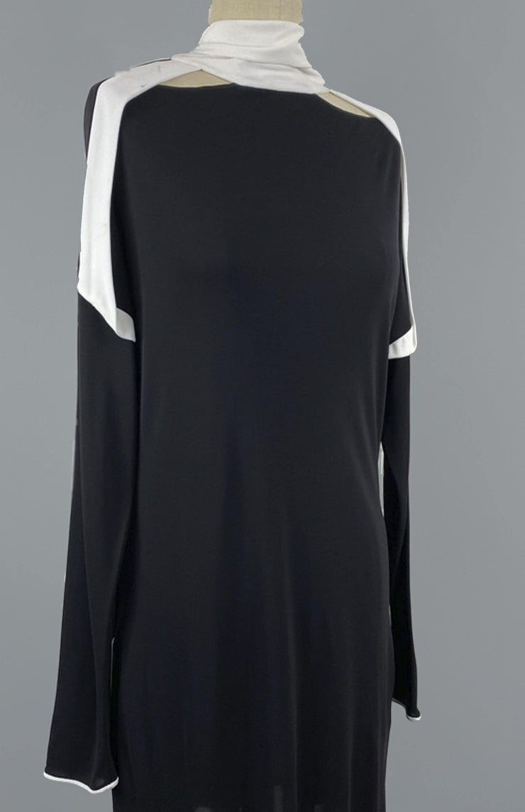 Maya - Black and White Short Dress With Scarf and Draping - Front Detail