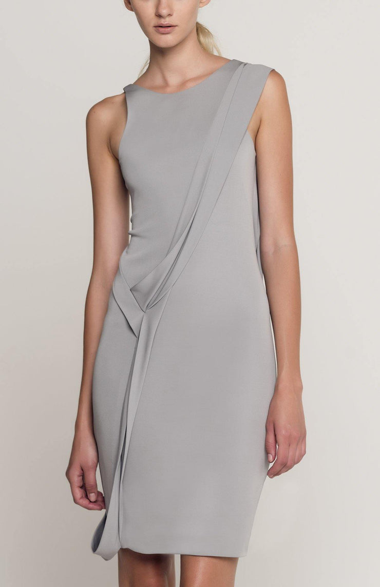 Melene - Short Draped Dress With Open Back in Jersey - Front