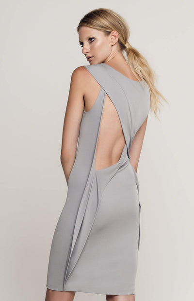 Melene - Short Draped Dress With Open Back in Jersey - Back