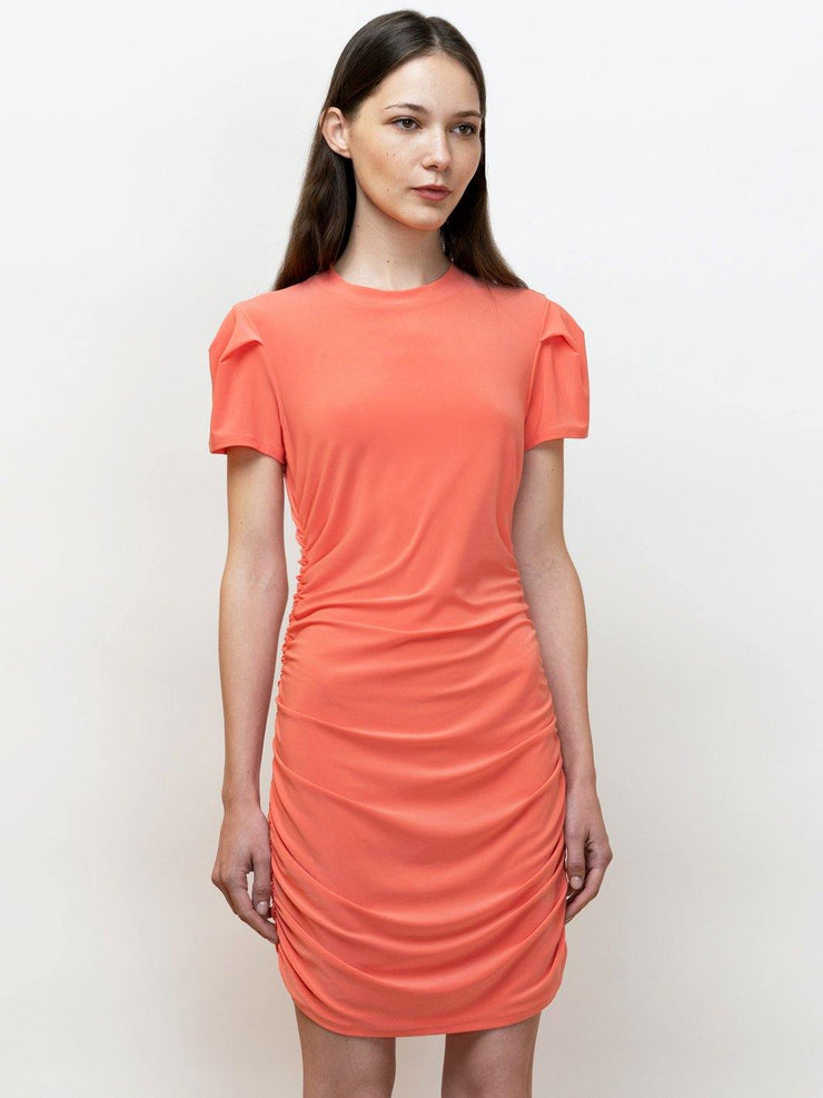Narcisse short draped dress,  t-shirt style, in jersey.