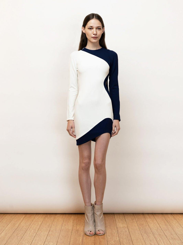 Odysse short colorblock dress with cutout detail.