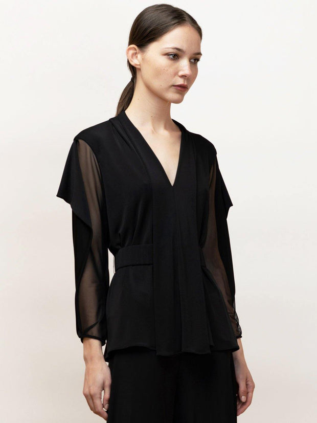 Ophelia - Long Sleeve Draped Top in Jersey With Mesh Contrast - Front Closeup