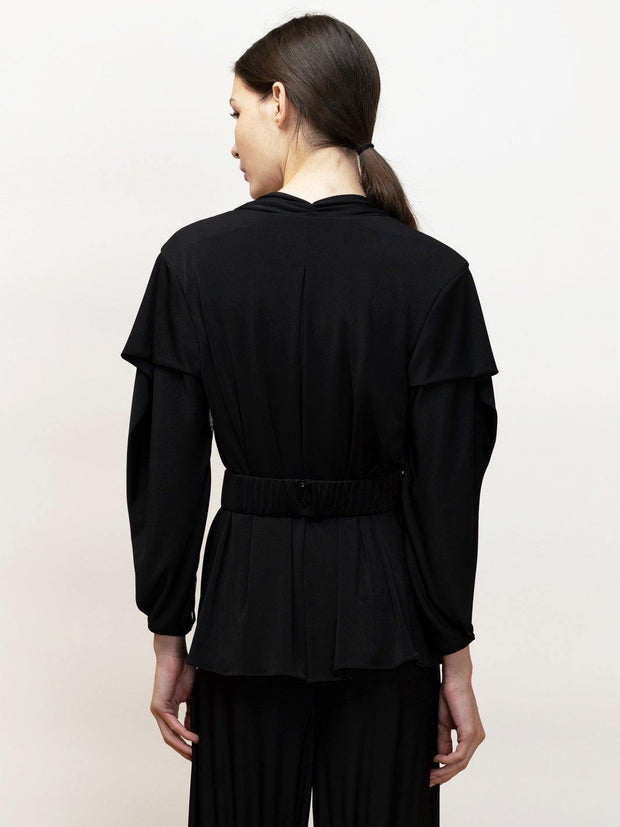 Ophelia - Long Sleeve Draped Top in Jersey With Mesh Contrast - Back Detail