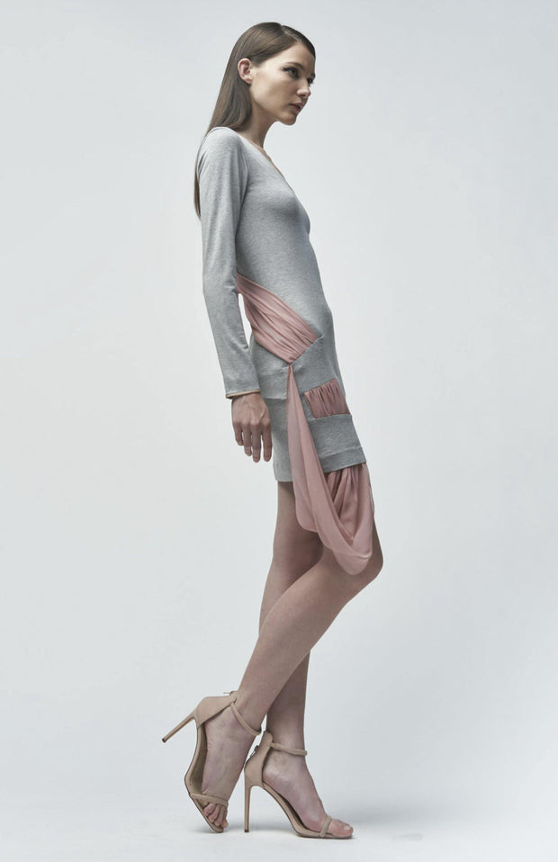 Orianna - Short Jersey Dress With a Couture Drape Detail - Full Body