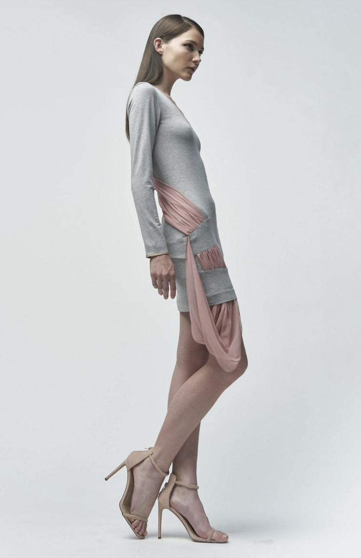 Orianna - Short Jersey Dress With a Couture Drape Detail