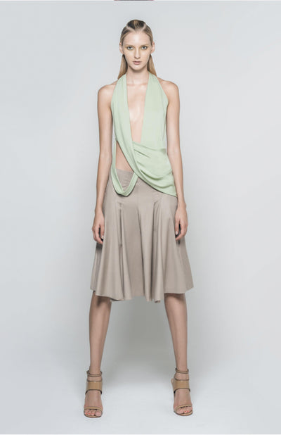 Arkisse draped silk top with stretch.