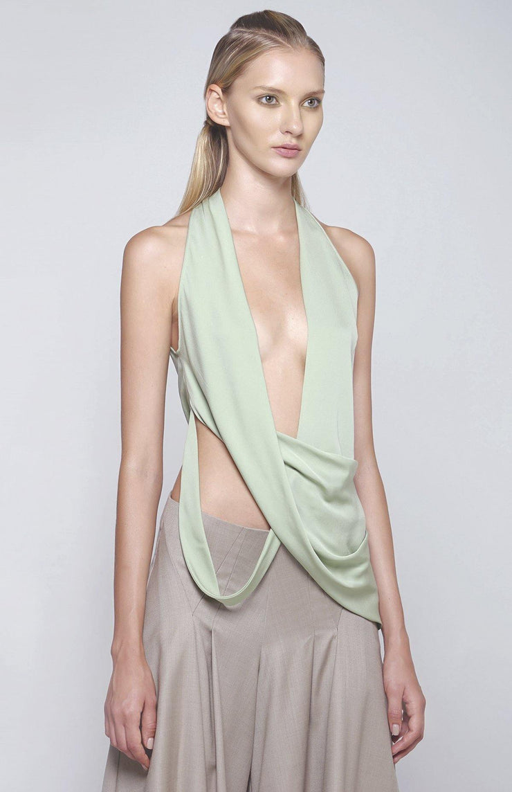 Arkisse - Silk Top with stretch with dramatic and fluid draping