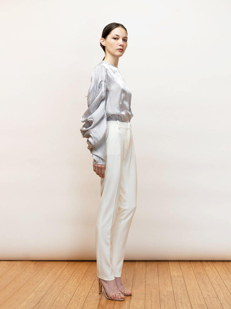 Ortensia - Satin, Going Out Top With Draped Sleeves - Silver Side Full Body