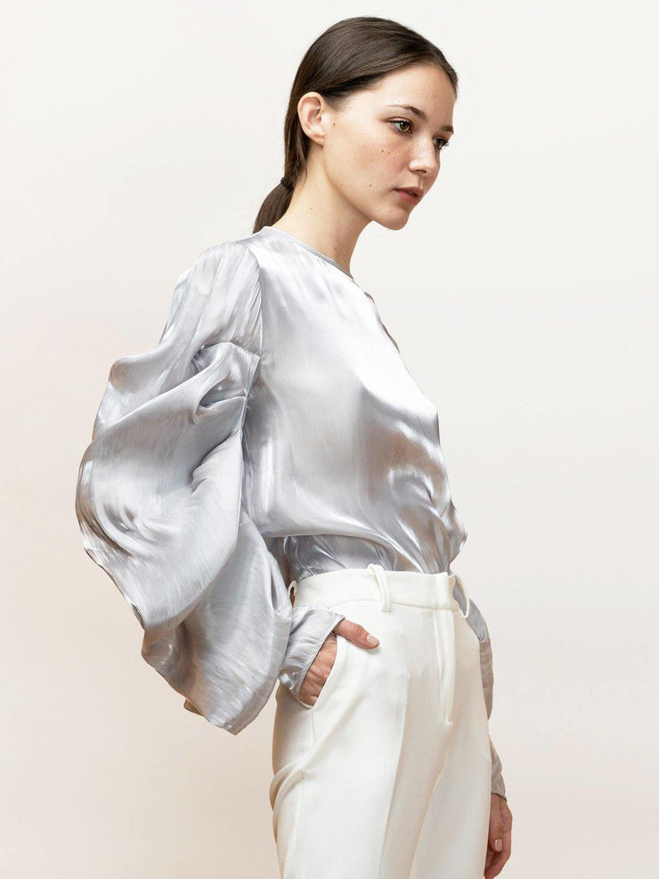 Ortensia - Satin, Going Out Top With Draped Sleeves - Side Detail
