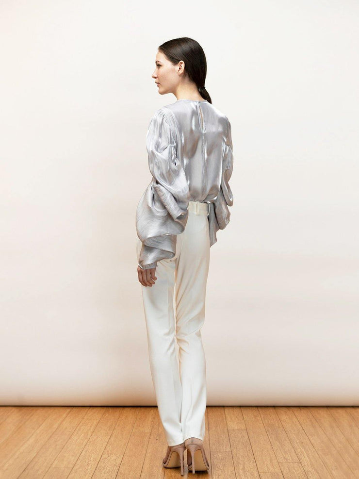 Ortensia - Satin, Going Out Top With Draped Sleeves - Back Detail