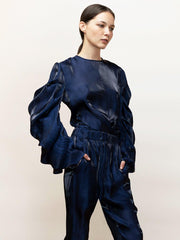 Ortensia - Satin, Going Out Top With Draped Sleeves - Front Detail in Navy