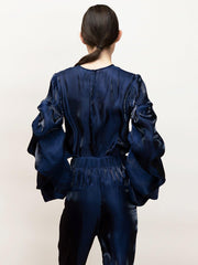 Ortensia - Satin, Going Out Top With Draped Sleeves - Back Full Body in Navy