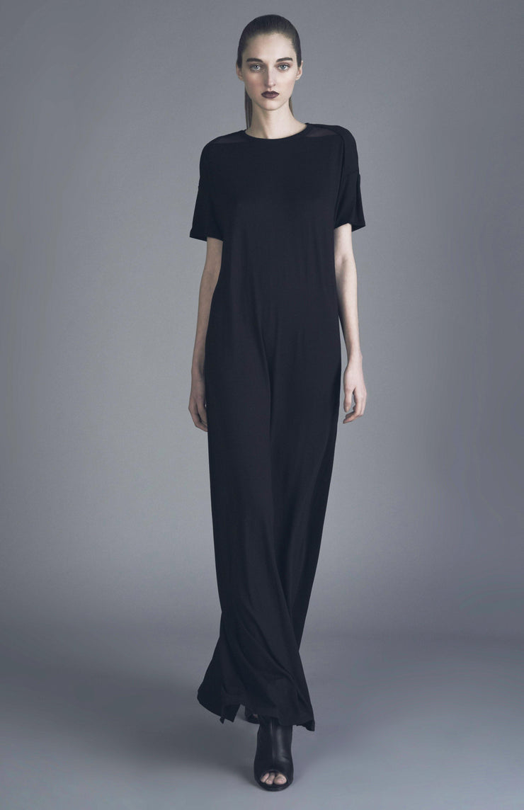 Sopheea - Long Black Jersey Dress