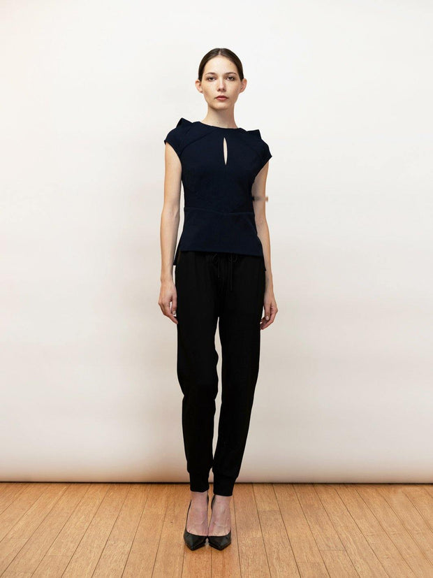 Tesee -Stretch Crepe Draped Top - by Michail Sykianakis Clothing