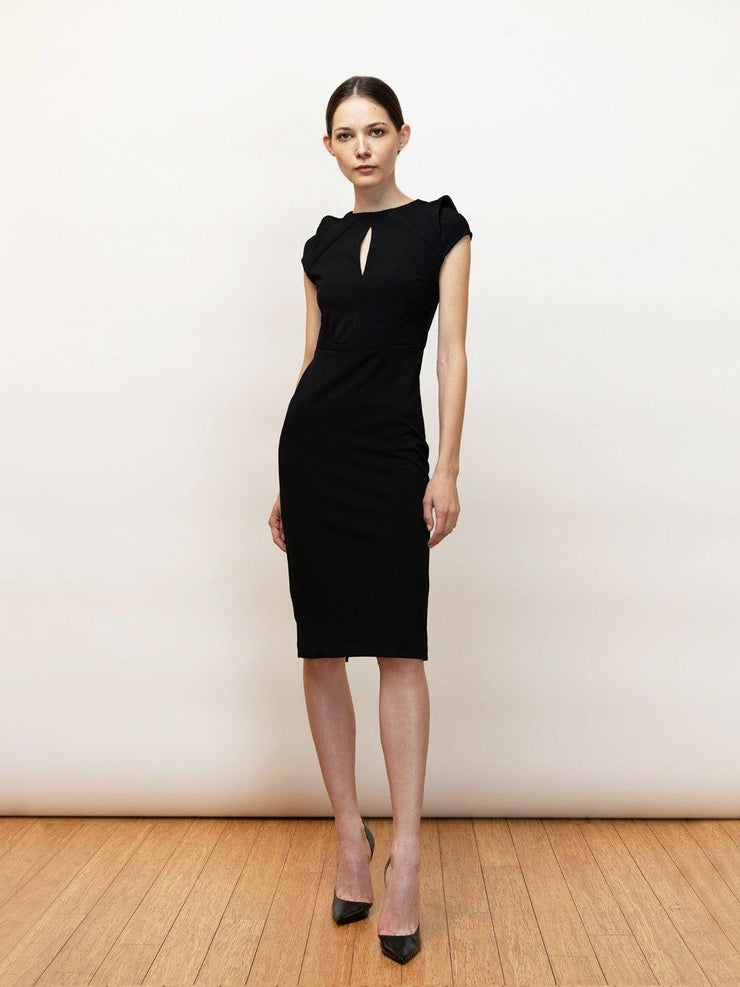 Vasilissa black tailored dress with sculptural draping in stretch crepe.