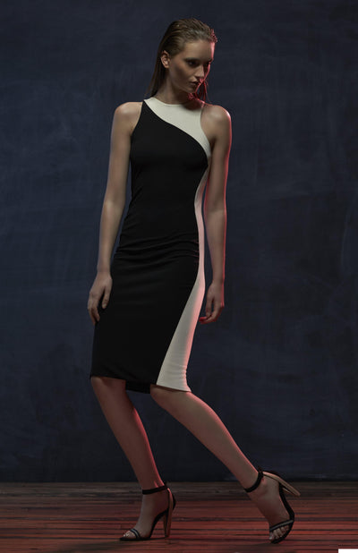 Nereesa black and white colorblock dress, to the knee length in jersey.