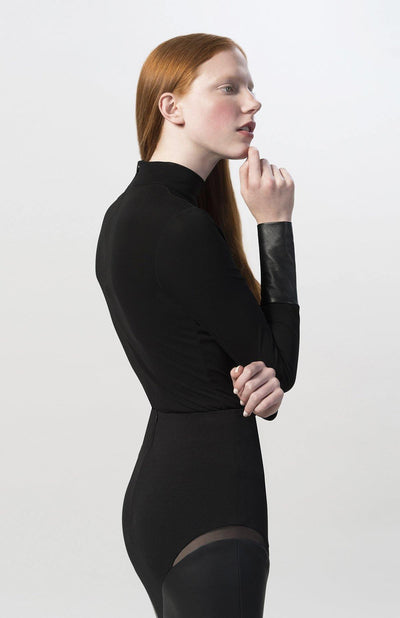 Cielle black long sleeve turtleneck bodysuit.
