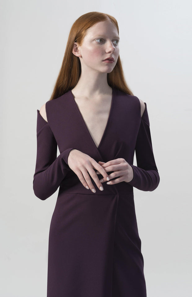 Inia Stretch Crepe Wrap Dress - Closeup Full Body
