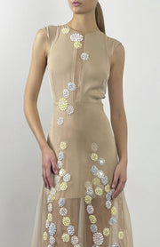 Kassandra Long Organza Dress With Lace Embellishment - Beaded Close Up