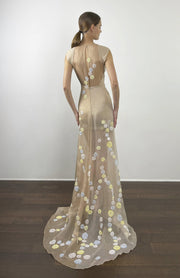 Nude red carpet gown