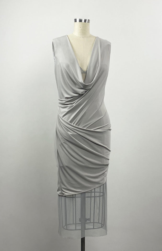 Iremia - Modern Grecian Draped Jersey Dress - Front Detail 2