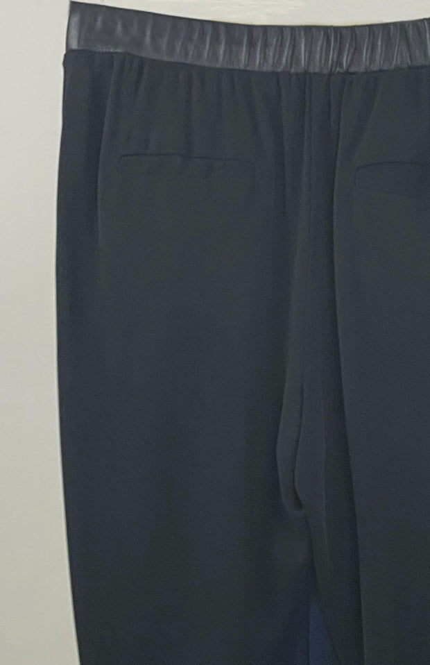 Imla Jersey Silk And Leather Slouchy Pants Black Closeup