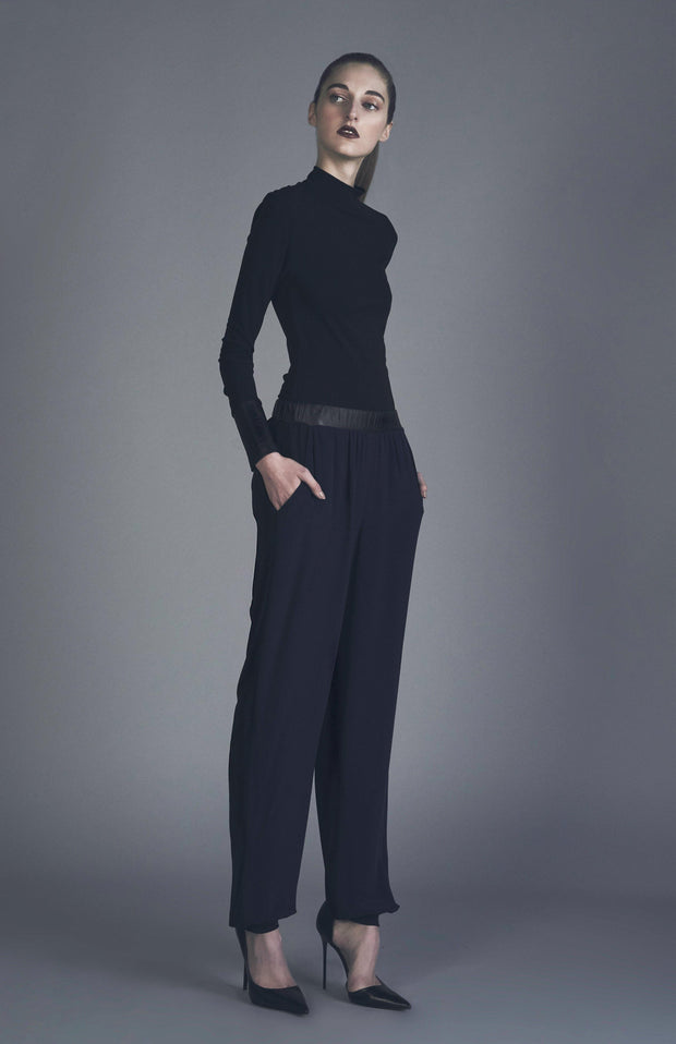 Imla Jersey Silk And Leather Slouchy Pants - Side Full Body