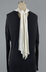 Maya - Black and White Short Dress With Scarf and Draping - Back Detail