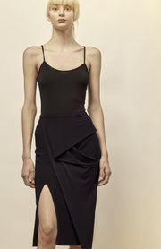 Kirke - Jersey Pencil Skirt With Draping - Front with Slit Detail