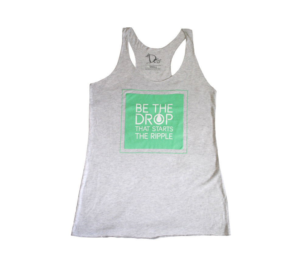 Women's Mint Slogan Racerback Tank - White Heather