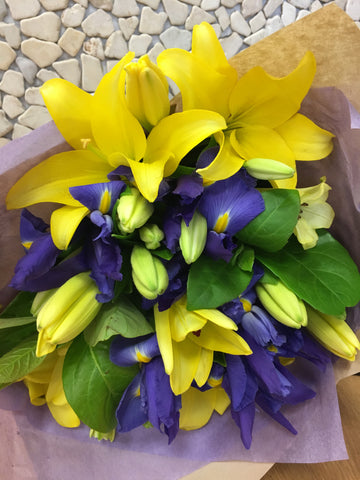 Bright Bouquet - Iris and Lilies