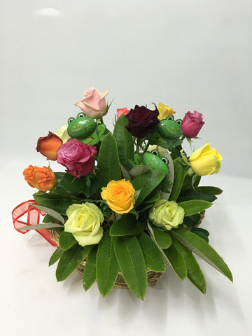 Basket of Roses with Frogs