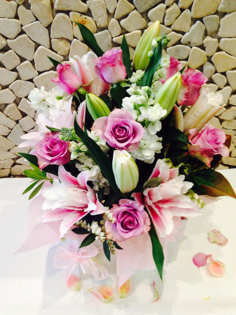 Roses with stocks and rose lily
