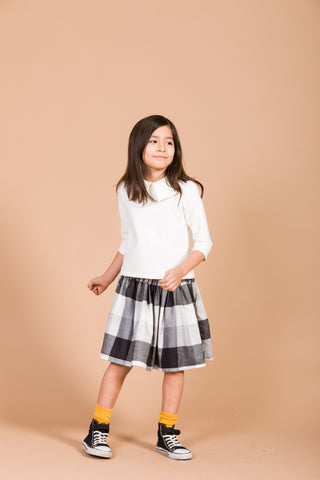 Motoreta Black/White Squared Skirt