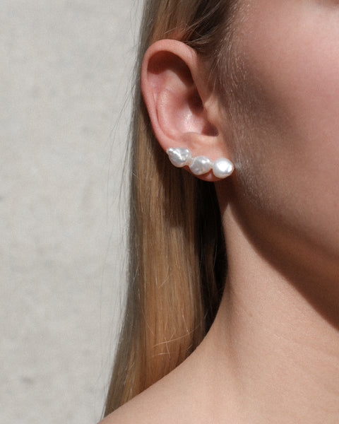 Multis Fresh Water Pearl Mismatch Stud Earrings
