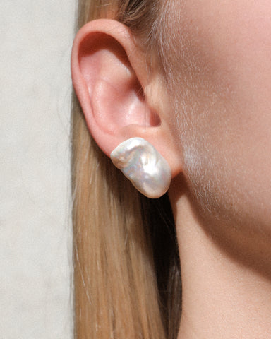 Baroque Jumbo Pearl Stud Earrings