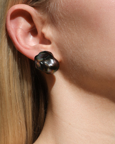 Baroque Jumbo Black Pearl Stud Earrings