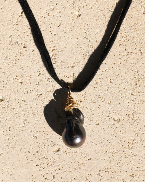 Baroque Black Pearl and Multi Bead Necklace