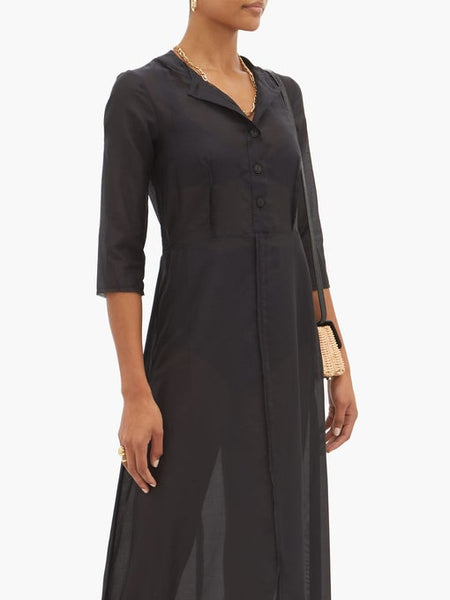 Andrea 3/4 Sleeve Long Dress - Black