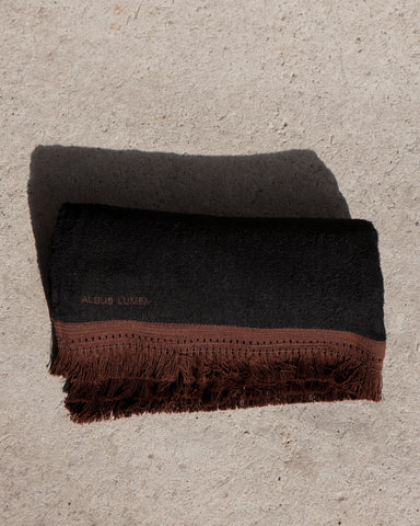 SAFI FRINGED BEACH TOWEL - BLACK/BROWN